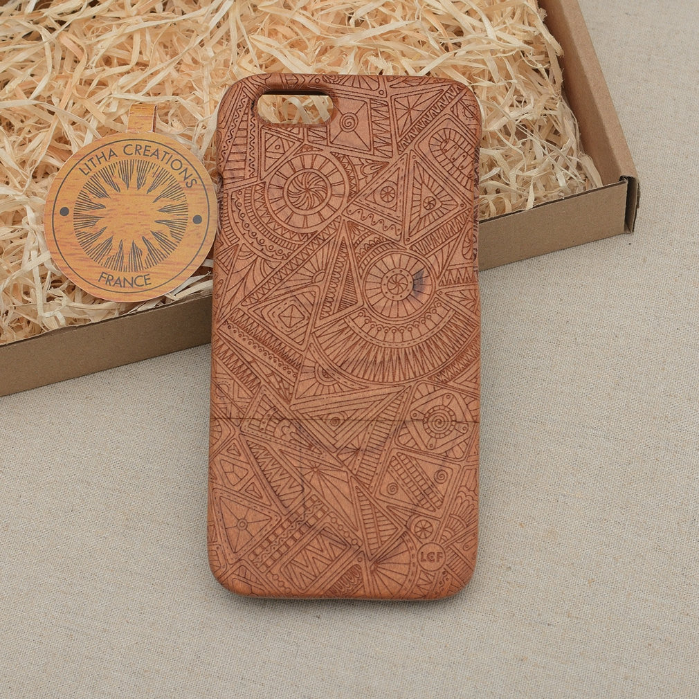 Psychedelic Custom Design TRINITY Natural Wood Phone Case