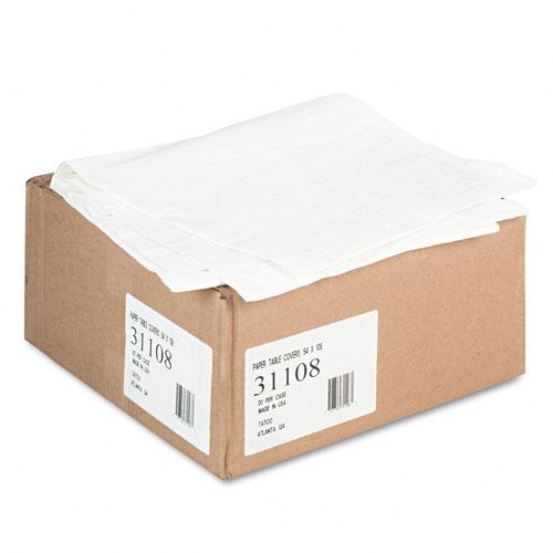 "Tatco 54"" x 108' White Embossed Paper Table Covers with Plastic Liner 20ct Case"