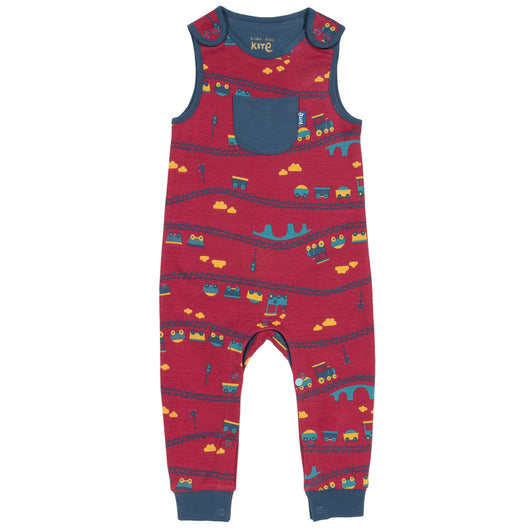 Baby's dungarees with trains and popper buttons, made with organic cotton
