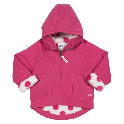 Girl's coat with fleece made of recycled plastic