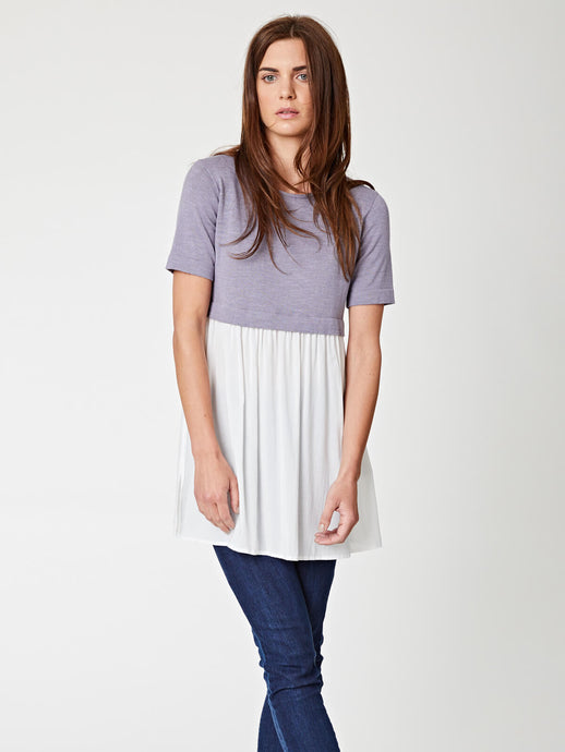 womens bamboo top with cotton/linen blend