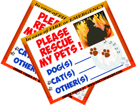 2 Emergency-Pet-Lifesaving Window Stickers !