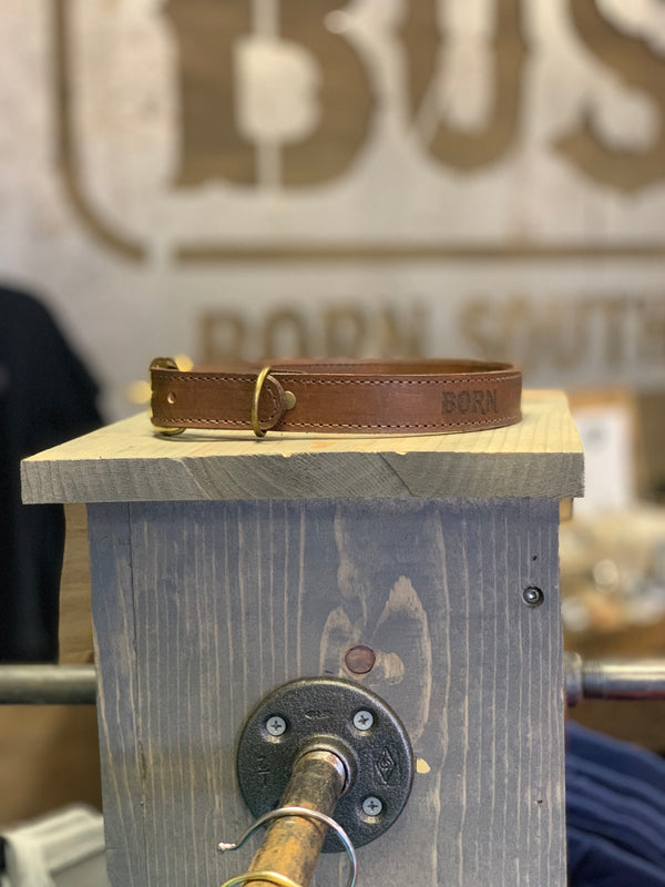 Handcrafted Leather Dog Collar with Born Southern Logo