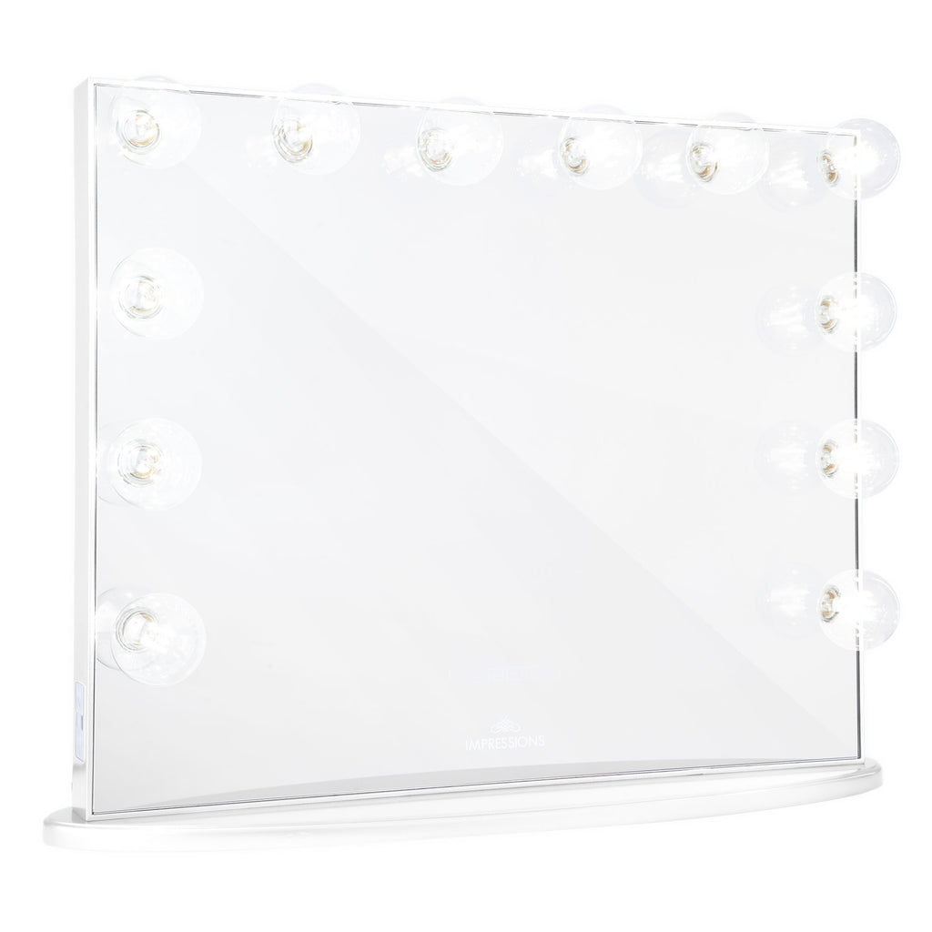Impressions Vanity Hollywood Glow Plus Vanity Mirror in Glossy White with Clear LED Bulbs