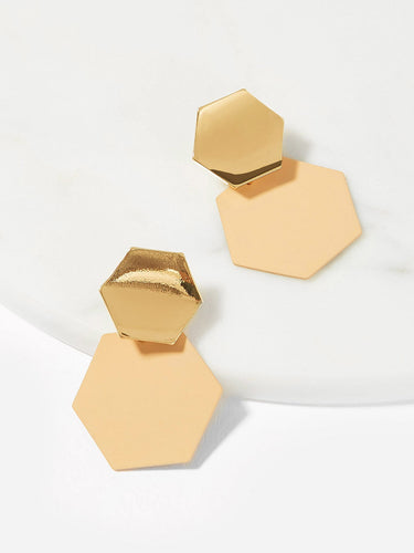 Double Hexagon Drop Earrings