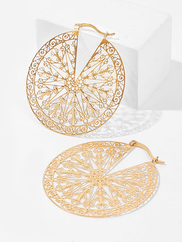 Cut Hollow Round Drop Earrings