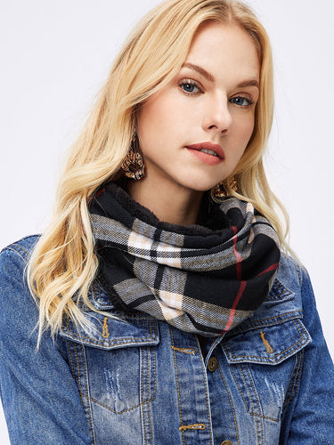 Faux Fur Plaid Infinity Scarf