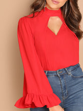 Keyhole Back Choker Neck Solid Top