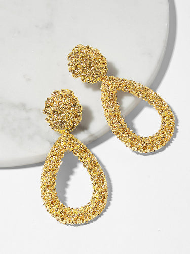 Open Waterdrop Textured Drop Earrings