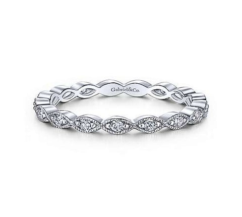 14k White Gold Eternity Stackable Ladies Ring