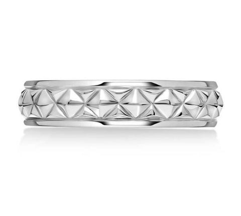 Karl Lagerfeld 14K White Gold Wedding Band