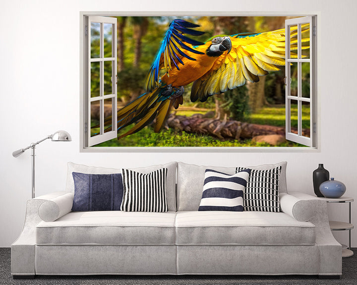Colourful Flying Parrot Living Room Decal Vinyl Wall Sticker A128w