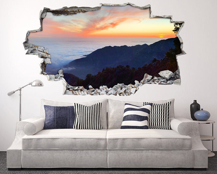 Mountains Cloud Sunrise Living Room Decal Vinyl Wall Sticker I113