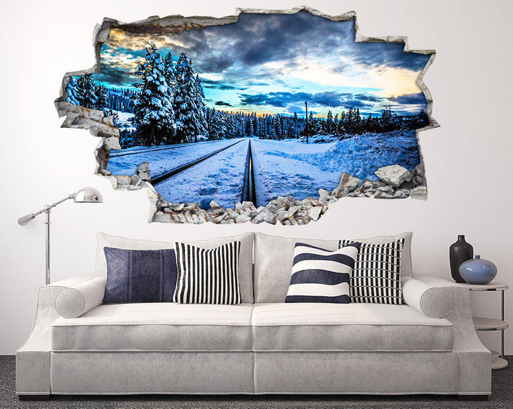 Snow Scenic Railway Track Living Room Decal Vinyl Wall Sticker I130