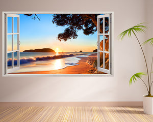 Beach Sun Waves Living Room Decal Vinyl Wall Sticker I270