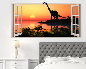 Dinosaur Silhouette Bedroom Decal Vinyl Wall Sticker Q048