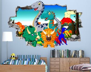 Cartoon Dinosaur Volcano Boys Bedroom Decal Vinyl Wall Sticker Q615