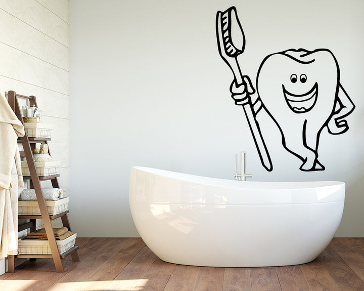 Toothbrush Decal Vinyl Wall Sticker