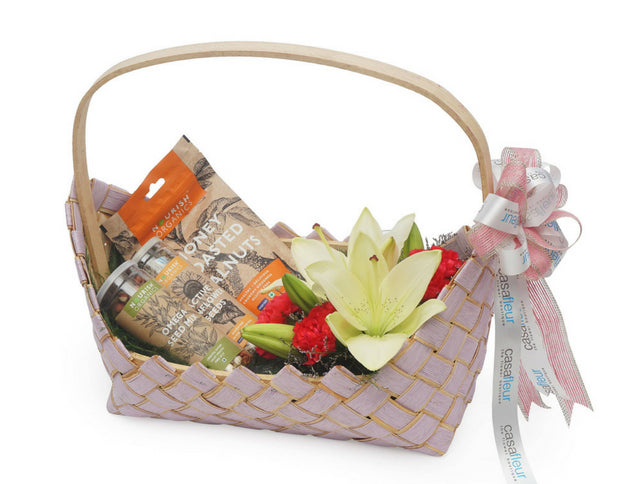 Gift Basket with Asiatic Lilies & Carnations