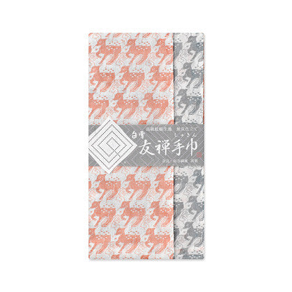 "Shirayuki Fuukin 友禅手巾【鹿】-reversible Yuzen ""shukin"" (face towel)- Deer"