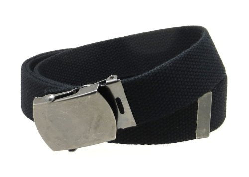 Canvas Web Belt Military Style Antique Silver Buckle/Tip Solid Color 50