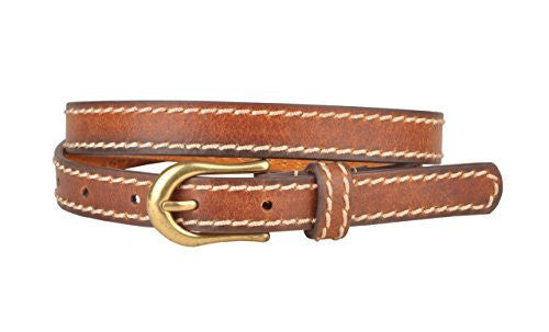 Womens Brown Skinny Leather Belt with Side Sitchings