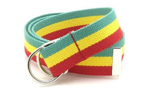 "Canvas Web Belt D-Ring Buckle 1.25"" Wide Metal Tip Multi-Color"