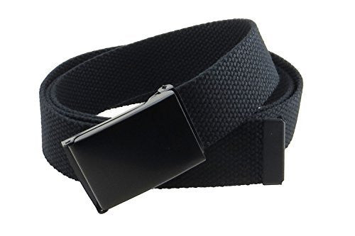 Canvas Web Belt Flip-Top Black Buckle/Tip Solid Color 50
