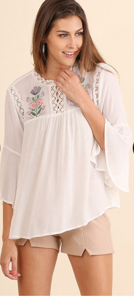 Elan Embroidered Flowing Top