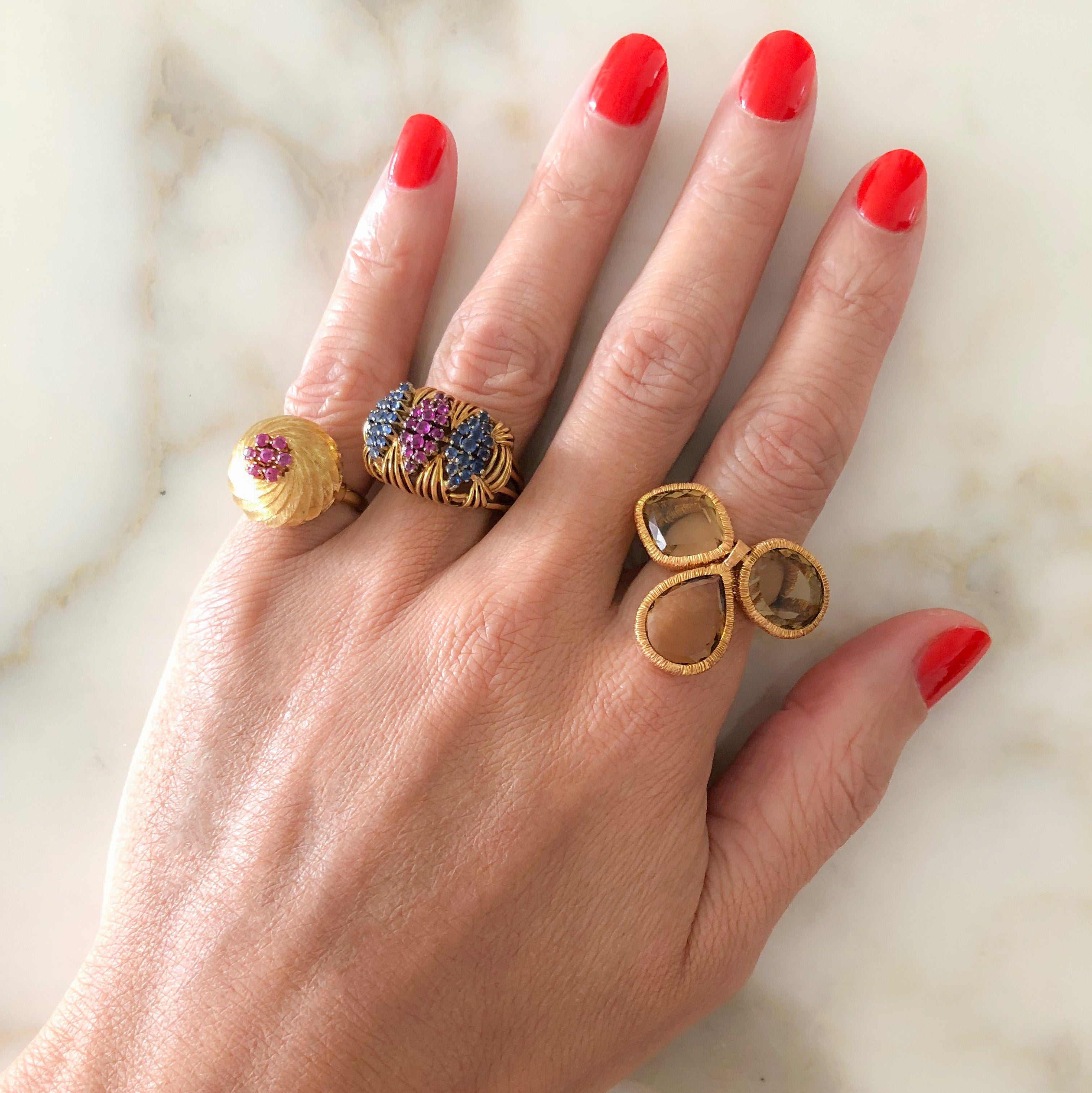 Vintage Gold Ring, Rubies & Blue Sapphires