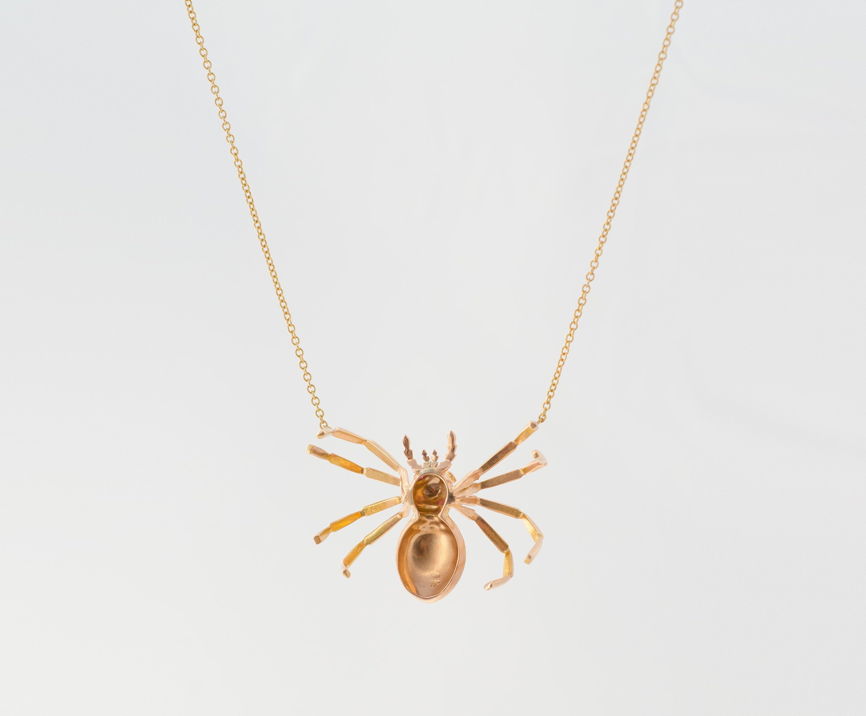Vintage Gold & Ruby Spider Necklace