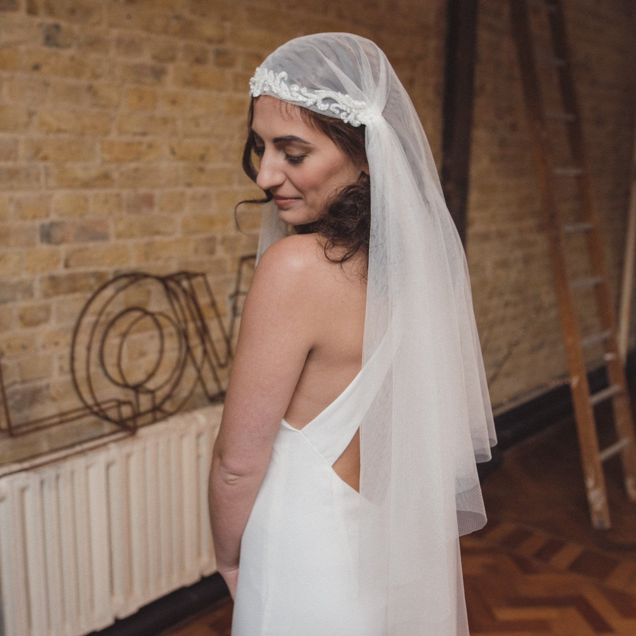 Beautiful handmade Juliet cap wedding veil by Blossom and Bluebird