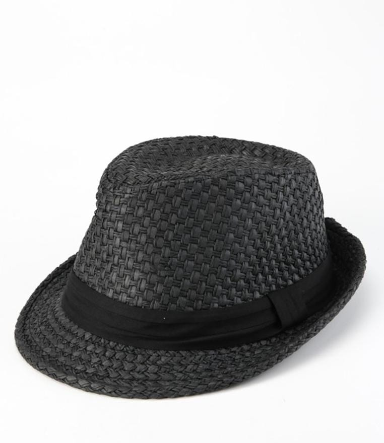 Paper Straw Trilby Hat - Black Fedora Hat - Urban State Indonesia