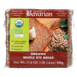 Genuine Bavarian Organic Bread - Whole Rye - Case Of 6 - 17.6 Oz.