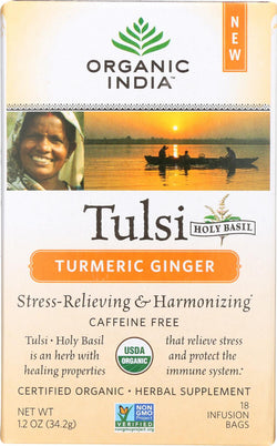 Organic India Tea - Organic - Tulsi - Turmeric Ginger - 18 Bags - Case Of 6