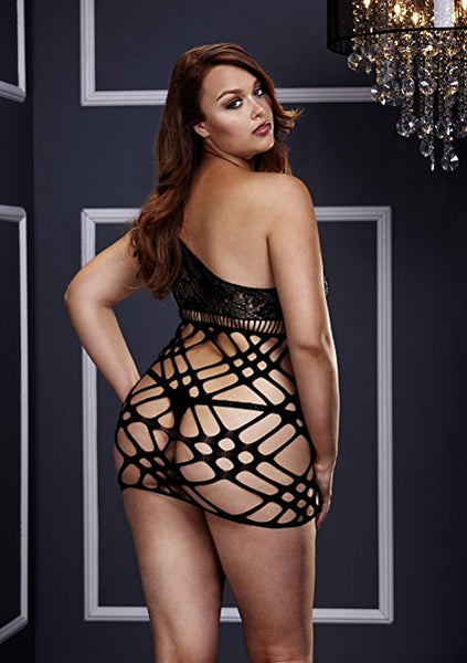 Over the Shoulder Lace & Cutout Net Chemise