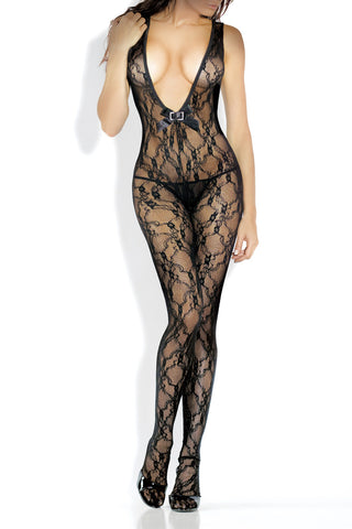 Deep V Floral Lace Open Crotch Bodystocking