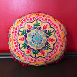 Flower Embroidered Handmade Round Pillow Cover