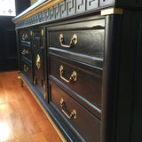 Solid Wood Navy Blue Gold Dipped Dresser Buffet Sideboard