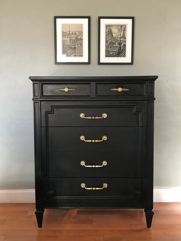 Pure Black Thomasville Highboy Dresser Chest of Drawers