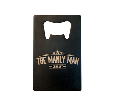 Side of The Official MAN CARD (Beer Bottle Opener) with The Manly Man Company Logo