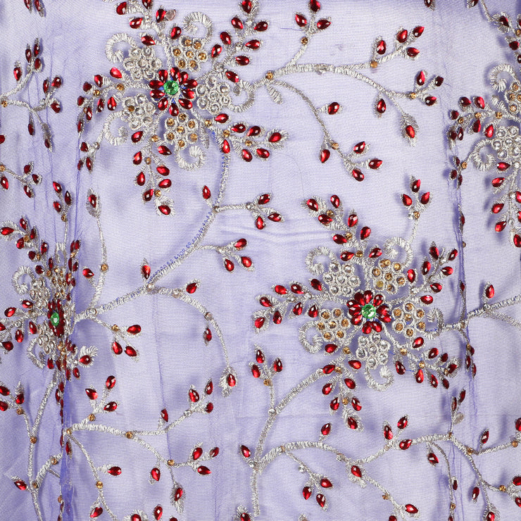 Hand Embroidered Fabric Design # 4072- Royal Blue - Per Yard