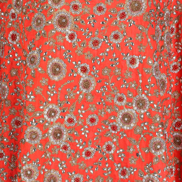 Hand Embroidered Fabric Design # 4169 - Burnt Orange - Per Yard
