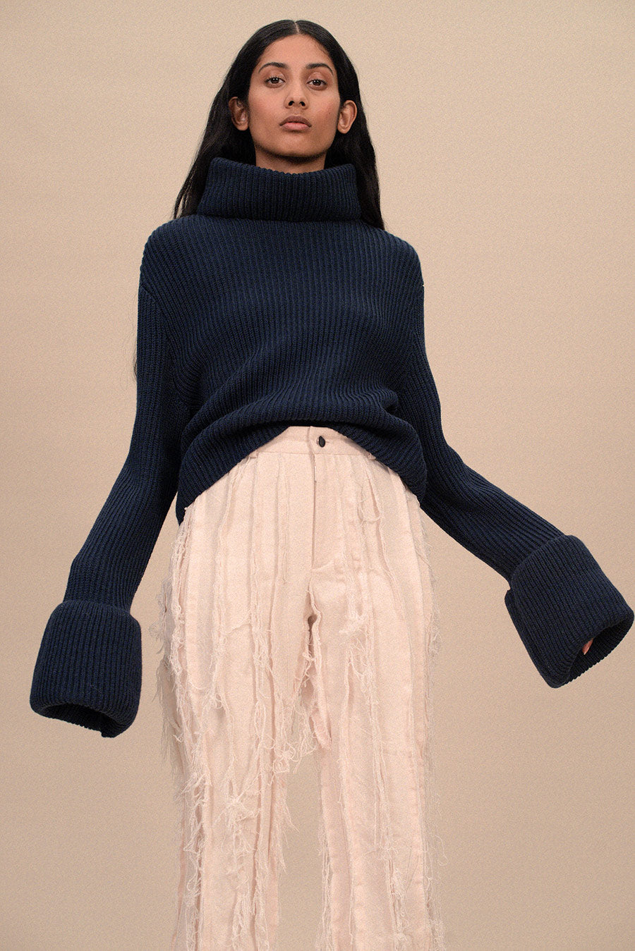 HIGH NECK SWEATER WITH CUFFED SLEEVES