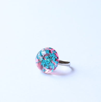Dried Flower Ring Blue Pink