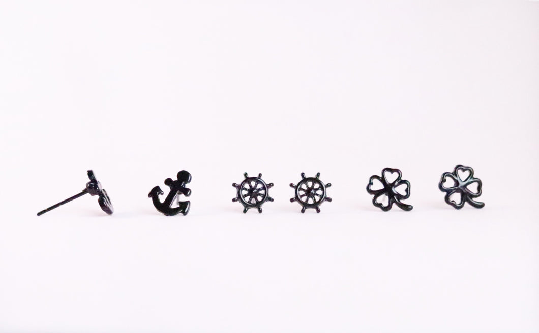 Small Black Earrings Anchor, Shamrock, Helm.