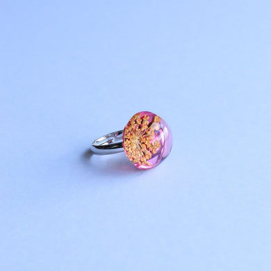 Dried Flower Ring Orange Pink
