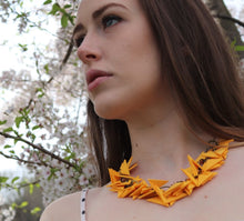 Dark Yellow Triangles Necklace Light Weight