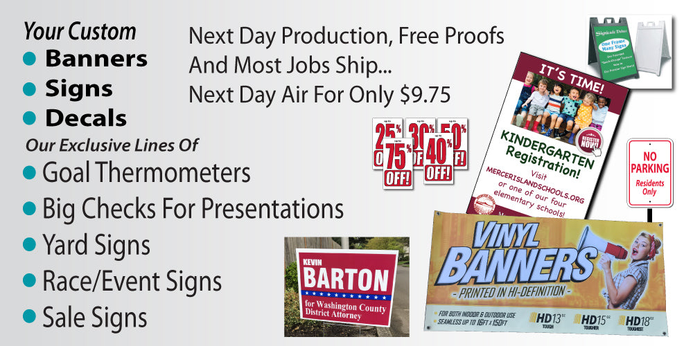Custom Banners, Signs, Big Checks, Fundraising Thermometers, Goal Charts