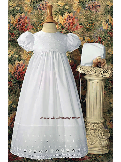 Cotton Eyelet Christening Dress with Lace Border